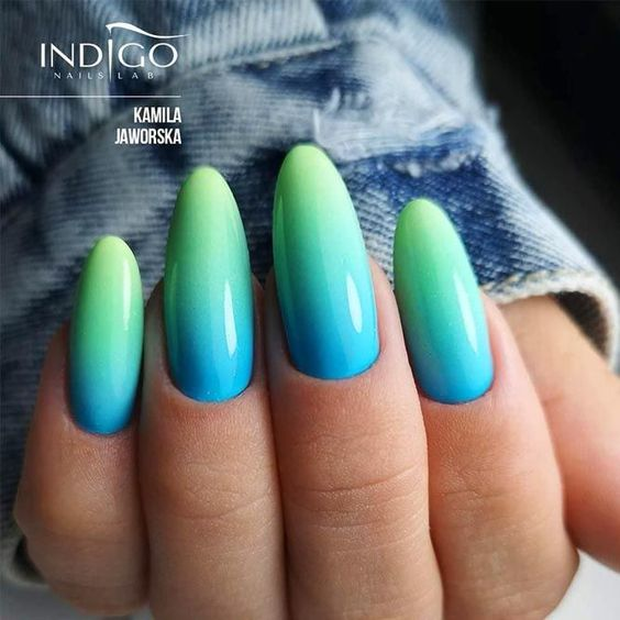 turqoise nails with ombre