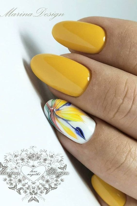 Yellow nails with flowers