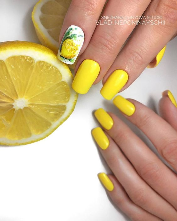 Yellow nails with fruits