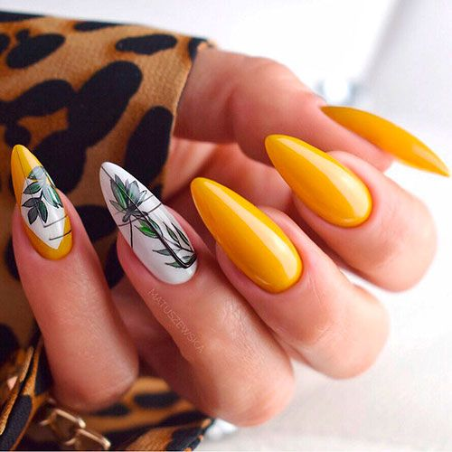 Yellow nails with palm leaves