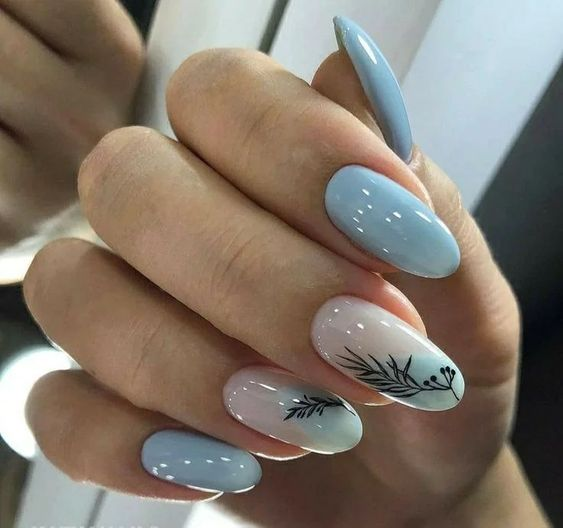 Baby blue nails for spring