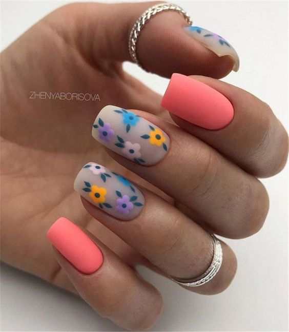 Matte nails with patterns for spring