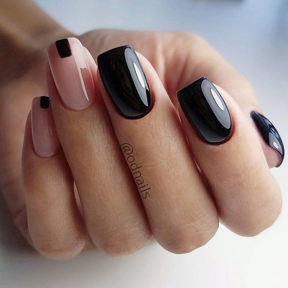 Natural nails with black color