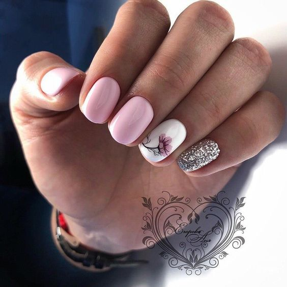 Pink nails with glitter for spring