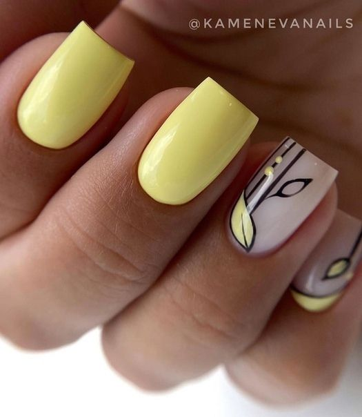 Yellow manicure for spring